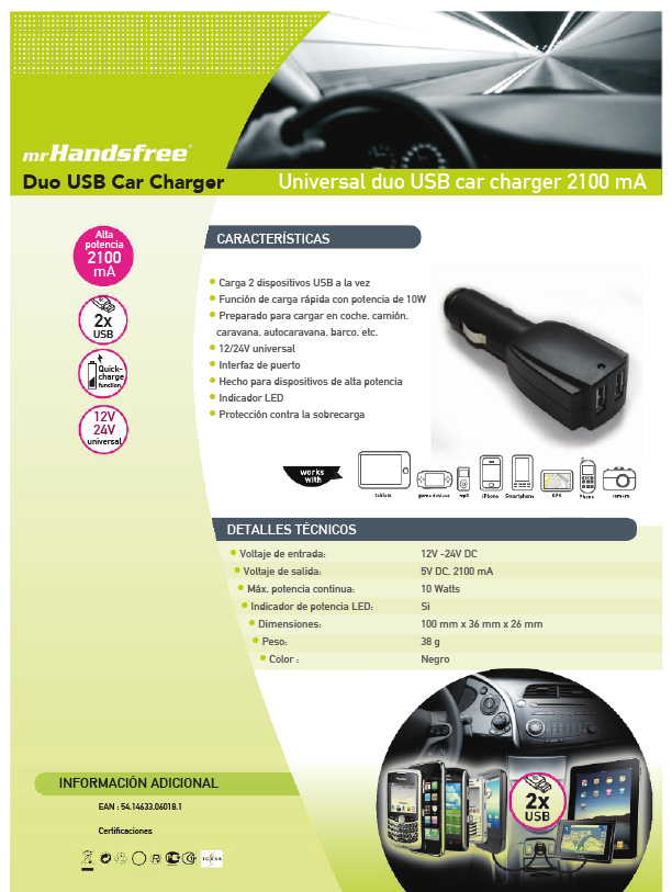 Universal Duo USB Car Charger 2100 mA